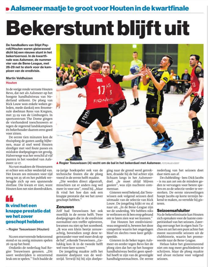 Bekerstunt blijft uit - Nieuws - Handbal Houten
